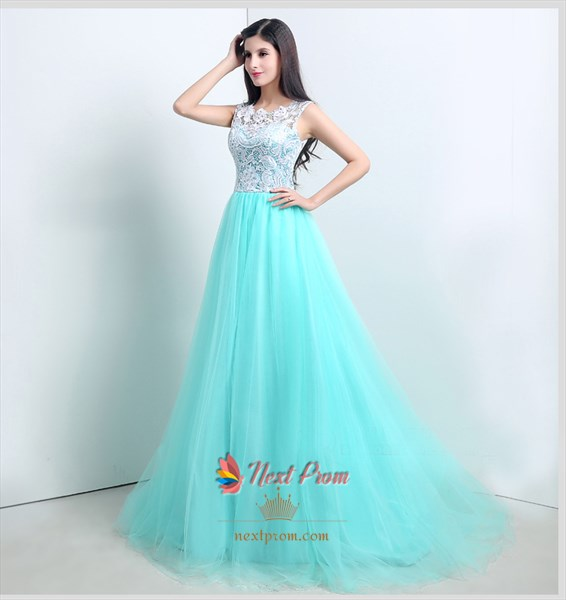 Light Tiffany Blue Prom Dresses With White Lace Overlay Top