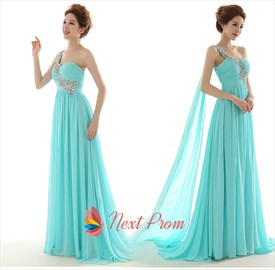 NextProm Tiffany Blue One Shoulder Long Chiffon Maxi Prom Dress