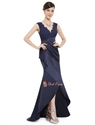 Navy Blue Long  V Neck Prom Dress With Lace Bodice