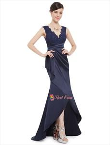Navy Blue Long  V Neck Prom Dress With Lace Bodice