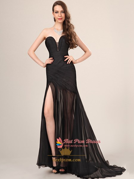 Long Black Sweetheart Neckline Prom Dress With Slits On The Side