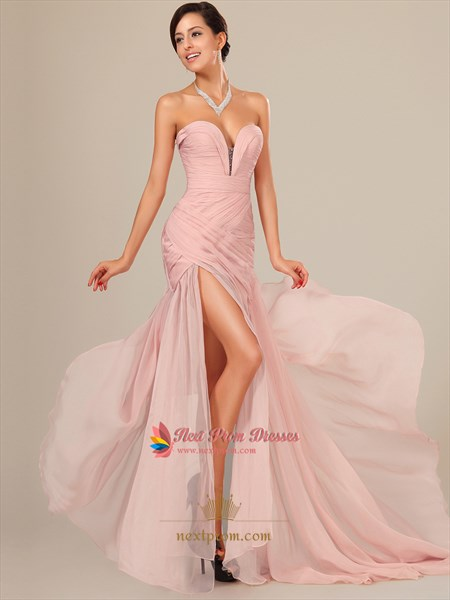 Pearl Pink Chiffon Prom Dresses Floor Length With Slits