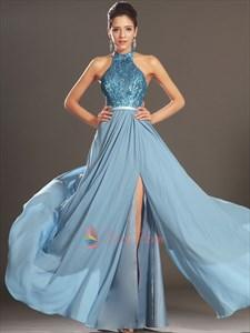 Sequin Halter Dress With Open Back, Elegant Sequin Chiffon Prom/Ball Dress