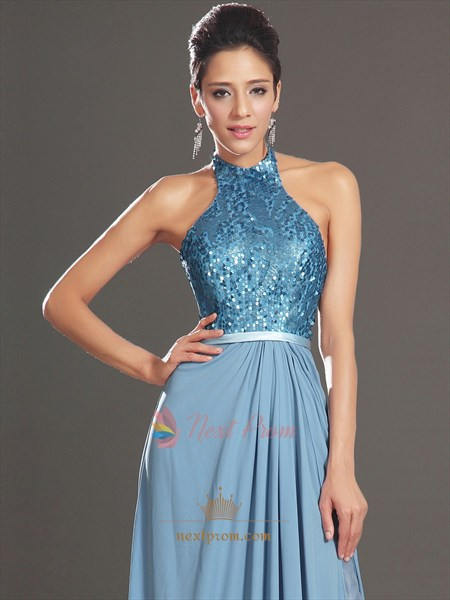 Sequin Halter Dress With Open Back, Elegant Sequin Chiffon Prom/Ball Dress