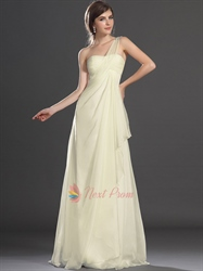 Pale Yellow One Shoulder Dress, Chiffon One Shoulder Draped Beaded Dress