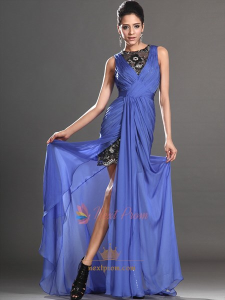 Chiffon Strapless Prom Dress With Sheer High Low Skirt, Blue Sleeveless Prom Dress