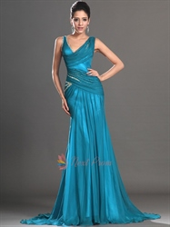Teal Sequin Mermaid Prom Dress, Embellished Chiffon Mermaid Prom Dress