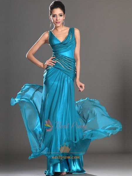 Teal Sequin Mermaid Prom Dress, Embellished Chiffon Mermaid Prom Dress