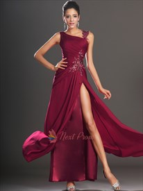 Burgundy Sheath Floor-length One Shoulder Dress, One Shoulder Applique Ruching Chiffon Prom Dress