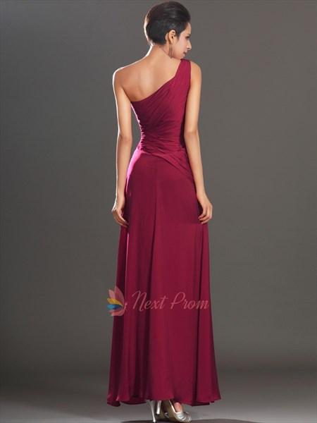 Burgundy Sheath Floor-length One Shoulder Dress, One Shoulder Applique Ruching Chiffon Prom Dress