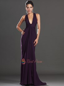 Dark Purple Shirred Waist Chiffon Prom Dress, V Neck Sleeveless Chiffon Column Dress