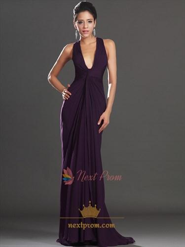 Dark Purple Shirred Waist Chiffon Prom Dress, V Neck Sleeveless Chiffon Column Dress