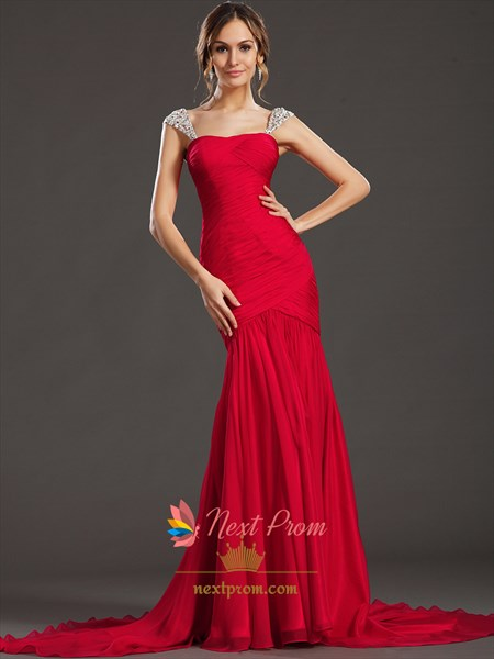 Red Mermaid Chiffon Prom Dresses With Sequin Straps