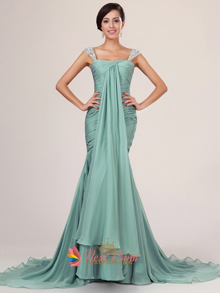 Light Blue Mermaid Prom Dress With Sequin Straps