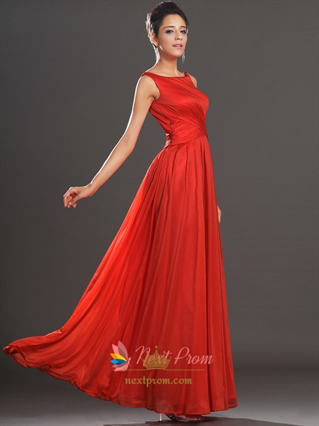 Long Red Open Back Chiffon Prom Dresses With Straps