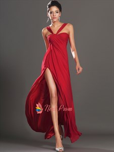 Long Red Elegant Winter Formal Prom Dress With Slits On The Side