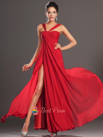 Long Red Elegant Winter Formal Prom Dress With Slits On ...