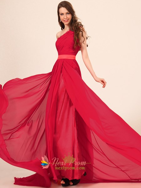 One Shoulder Red Formal Long Straight Prom Dresses,Prom Dresses With One Shoulder Strap