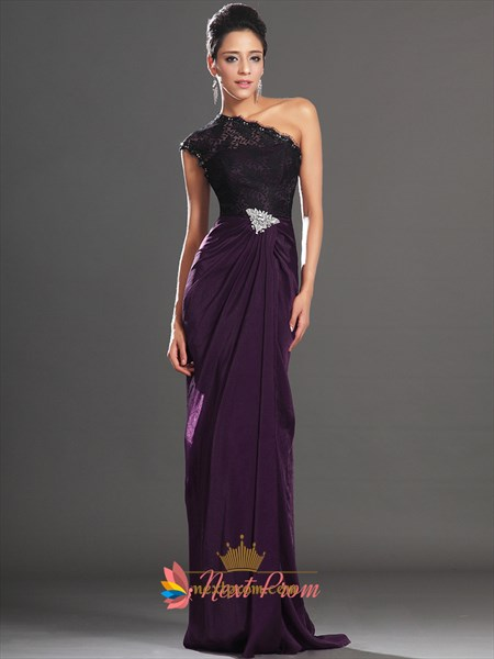 Long Purple Lace Sleeves Prom Dresses With Slits On The Side,Purple One Shoulder Prom Dress