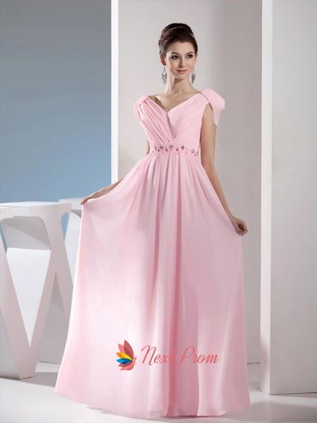 Light Pale Pink Off The Shoulder Long Chiffon Bridesmaid Dresses