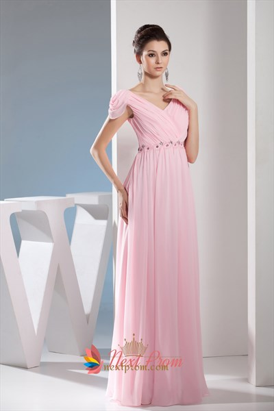 Light Pale Pink Off The Shoulder Long Chiffon Bridesmaid Dresses