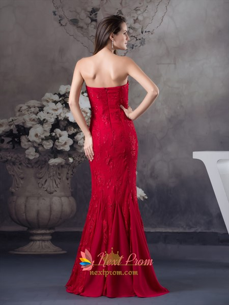 Red Strapless Sweetheart Neckline Mermaid Evening Prom Dress With Embellished Bodice