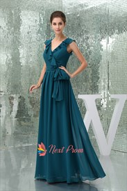 Long Cheap Dark Teal Chiffon Prom Mother Of The Groom Outfit Dress