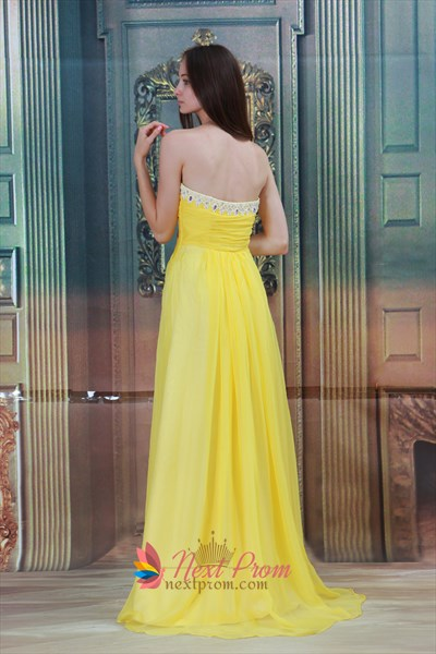 Bright Yellow Gold Maternity Chiffon Strapless Bridesmaid Maxi Dresses For Sale