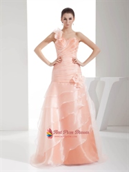 Light Pale Pink One Shoulder Modest Long Ball Gown Prom Dress With Floral Straps