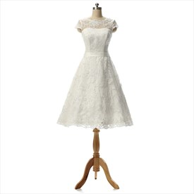 A Line Sheer Neckline Short Lace Cap Sleeves Wedding Dress With Ribbon