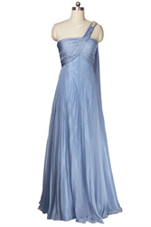 One Shoulder Sky Blue Chiffon Long Prom Dress With Watteau Train