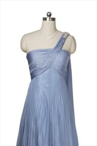 One Shoulder Sky Blue Chiffon Long Prom Dress With Watteau Train