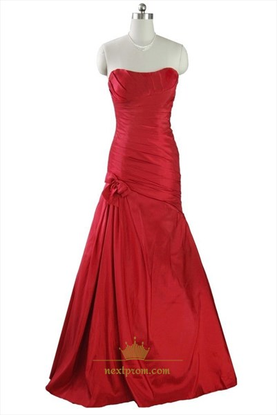 Long Red Strapless Mermaid Pleated Prom Dress With Lace Up Back