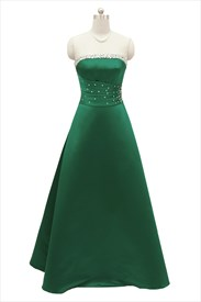 Emerald Green Strapless Sleeveless Long Prom Dress With Beaded Neckline