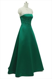Emerald Green Strapless Sleeveless Long Prom Dress With Beaded Neckline
