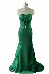 Emerald Green Mermaid Strapless Layered Long Prom Dress With Corset Back