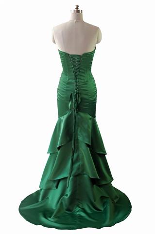 emerald green mermaid strapless layered long prom dress