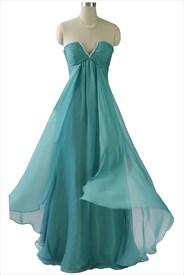 Mint Green Sleeveless Pleated Chiffon Empire Waist Long Bridesmaid Dress