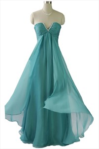 Mint Green Sleeveless Pleated Chiffon Empire Waist Long Bridesmaid Dress