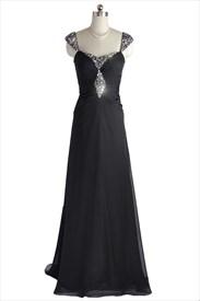 Black Elegant Chiffon Beaded Embellished Pleated Cap Sleeve Prom Dresses