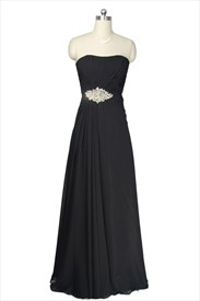 Strapless Black Chiffon Embellished Pleated Draped Long Bridesmaid Dress