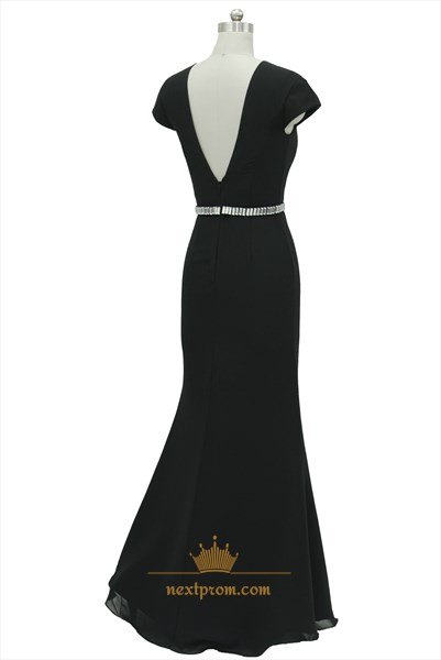 Black Chiffon Cap Sleeves Embellished Waist Prom Dress With Deep V Neck
