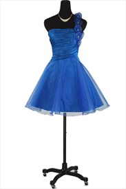 Royal Blue Organza One Shoulder Pleated Cocktail Dress With Flower Strap
