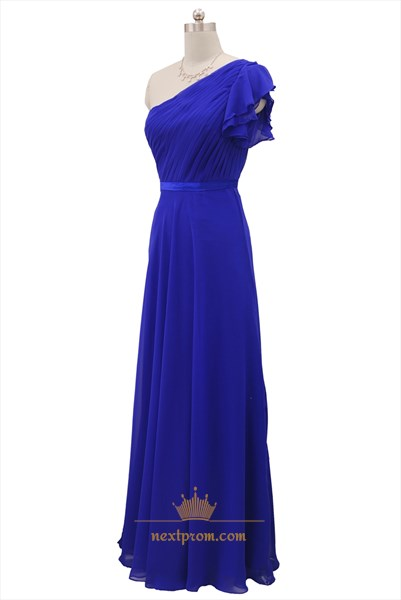 One Shoulder Chiffon Royal Blue Bridesmaid Dress With Flutter Sleeves