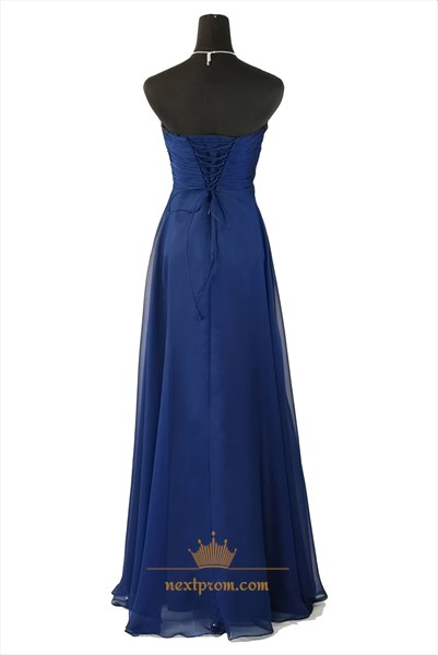 Amazing Royal Blue Strapless Embellished Waist Chiffon Bridesmaid Dress