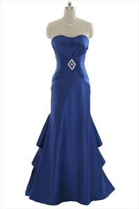 Royal Blue Mermaid Strapless Layered Long Prom Dress With Corset Back