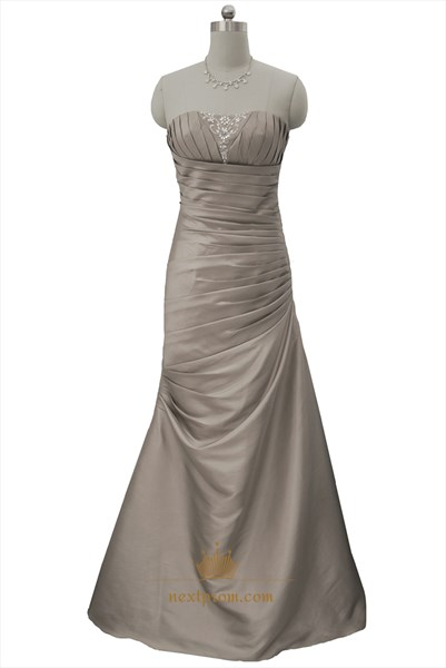 Champagne Mermaid Pleated Fitted Long Prom Dresses With Beaded Accents