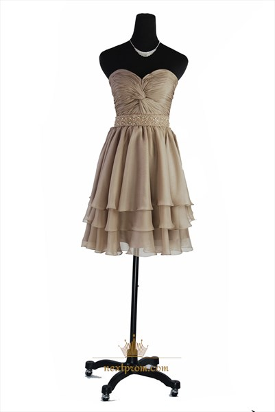 Champagne Chiffon Short Strapless Prom Dress With Embellished Waist