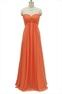 Orange Strapless Chiffon Empire Waist Bridesmaid Gown with Ruched Bodice