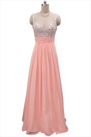 Coral Chiffon Beaded Top Embellished Bodice Draped Chiffon Prom Gowns